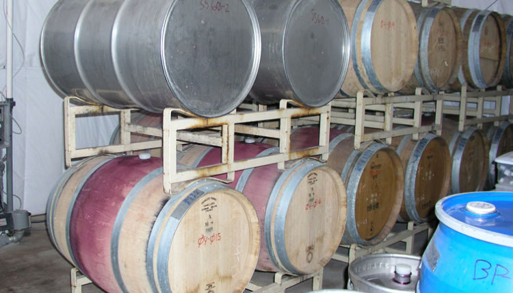 A close up of many barrel