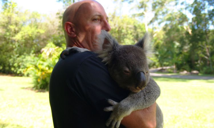 A man standing in front of a koala
